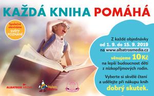 """Čtenáři knih nyní mohou podpořit vzdělávání dětí ohrožených chudobou. Akci """"Každá kniha pomáhá"""" organizují Nadace Naše dítě a Nadace Albatros."""